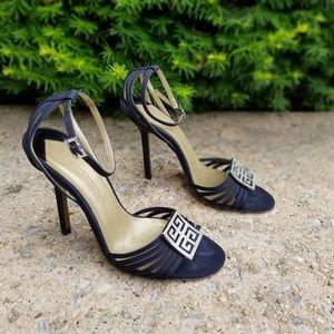 Givenchy sandal heel encrusted logo toe